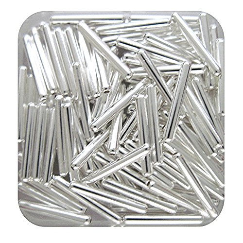 TUBE CAPSULE METAL SPACER BEADS 11x2mm SILVER PLATED 100pc JEWELRY FINDINGS (SP capsule tube beads 11x2mm)