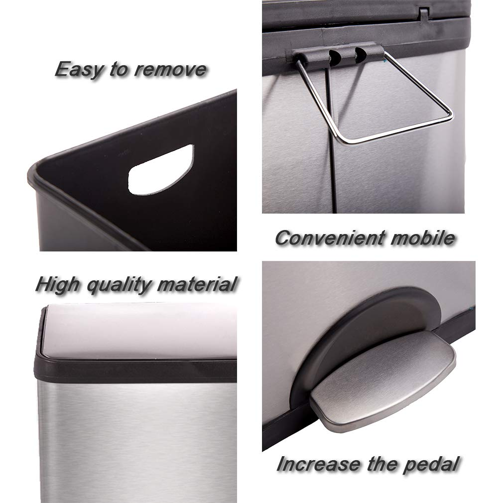 Metal Trash can Step Trash can Stainless Steel Trash can with Removable Inner lid for Home Kitchen Bathroom Office 10 Gallon / 30L by BestMassage (Image #5)