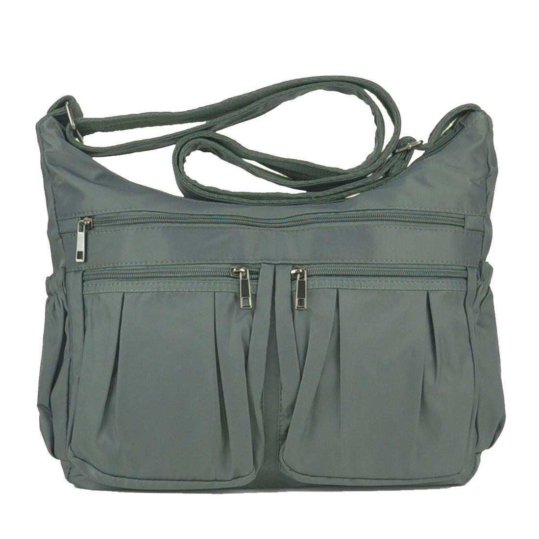 Lightweight Corss-body Purse Volcanic Rock Shoulder Bag(8981_Gray-Large) Volcanic Rock Shoulder Bag Corss-body Purse Waterproof Nylon Handbags with Zipper for Women