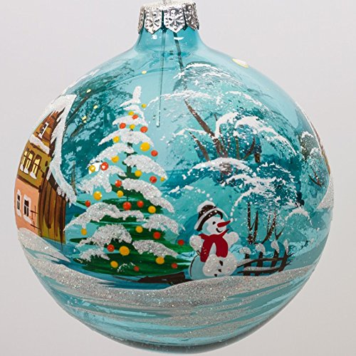 Glass Ball Christmas Tree Ornament - Painted Hand Snowman Glass Ornaments