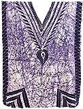 LA LEELA Cotton Batik Long Caftan Hawaiian Dress Violet_533 OSFM 14-18W [L-2X]