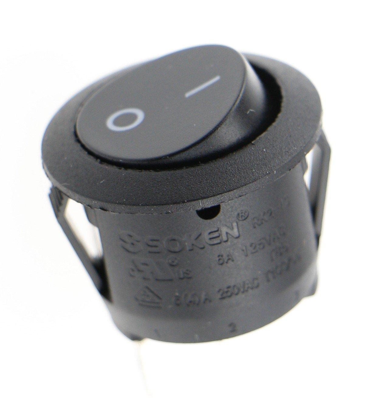 SOKEN 10 Stück schwarz Runder Knopf 2 Pin SPST EIN / AUS Schalter AC ...