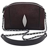 Stingray Genuine Leather Cross Body Shoulder Bag Woman Fuction Style Size 24 x 16 x 7 cm. (Brown)