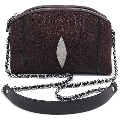Stingray Genuine Leather Cross Body Shoulder Bag Woman Fuction Style Size 24 x 16 x 7 cm. (Brown) by Treasure