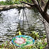 Winsome House Hummingbird with Flower Hanging Bird Bath, Multi