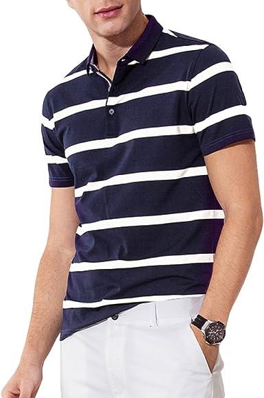 RENHONG Hombres Camiseta Negra A Rayas Blancas De Verano Camisetas Sueltas De Negocios Grandes Manga Corta De Algodón De Manga Larga Tops Ocasionales Camisa POLO: Amazon.es: Ropa y accesorios