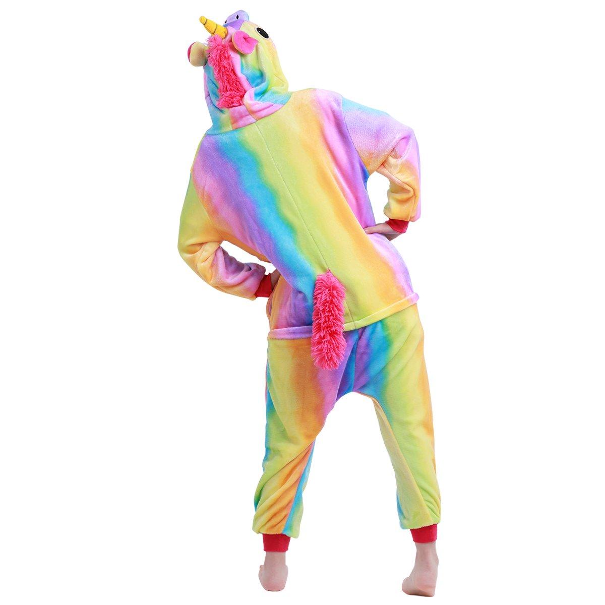 FEESHOW Kids Boys Girls One Piece Cartoon Pajamas Cosplay Costume Animal Plush Hoodie Sleepwear Rainbow 5-6