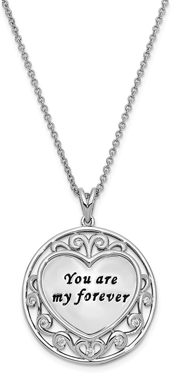 Sterling Silver W// Rhodium-plated Antiqued Synthetic CZ For You Mother 18in Necklace