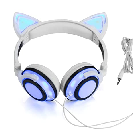 Amazon.com: Wired Cat Ear Headphones Glowing Lights with USB ...