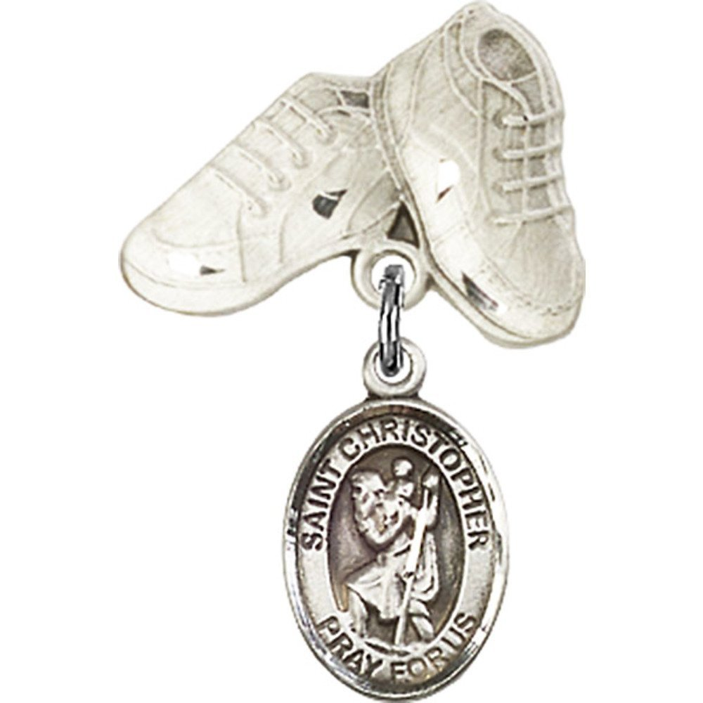 Sterling Silver Baby Badge with St. Christopher Charm and Baby Boots Pin 1 X 5/8 inches Bliss Manufacturing 9022SS/5923SS
