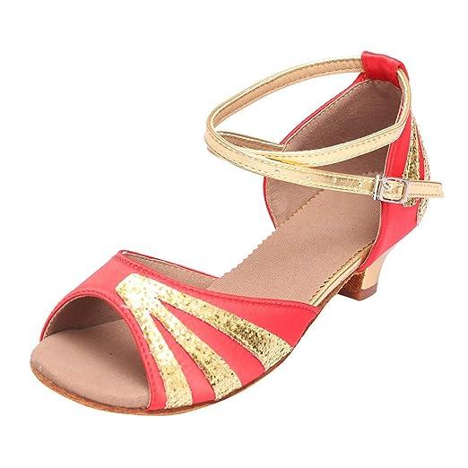Moda Damas Sexy Phoenix Hebilla de tacón bajo Zapatos de Baile Latino Sandalias Zapatos de Baile ...