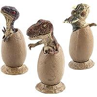 LEDMOMO 3pcs Hatching Dinosaur Eggs Toy Jurassic Dinosaur Model Simulation Egg with Base