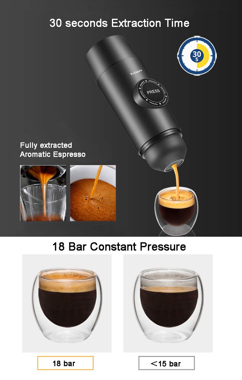 OMZBM Mini 2-in-1 Handheld All in One Espresso Coffee Maker with Hot Extraction Powder&Capsule,Wireless Portable Chargeable Electric Coffee Mechine for Outdoor Travel,Black by OMZBM (Image #3)