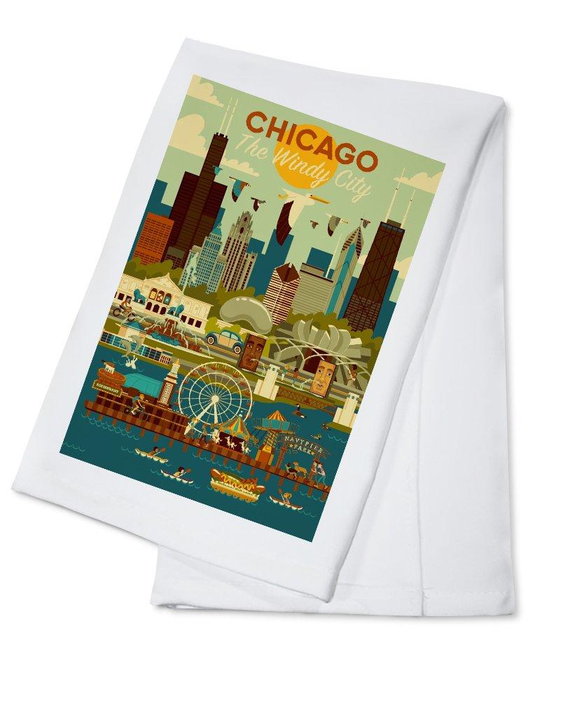 【在庫一掃】 シカゴ、イリノイ州 x – Giclee Geometric 16 x 24 Giclee Cotton Print LANT-83140-16x24 B076PVGBFX Cotton Towel Cotton Towel, 彫姫工房:ec2d8928 --- 4x4.lt