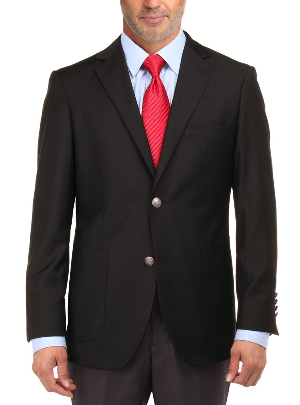 Salvatore Exte Men's 2 Button Suit Separate Jacket Sport Coat Blazer (42 Short US/52S EU,Black)
