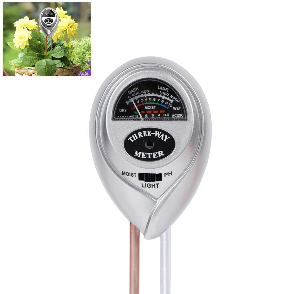 Kit de Medidor de Suelo Vegetal para C/ésped de Jard/ín Agr/ícola Medidor de Humedad del Suelo 3 en 1 Yuciya Medidor de Suelo Medidor de Acidez de luz y PH