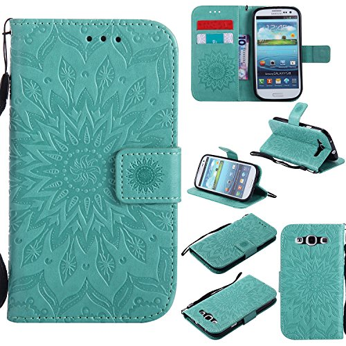 NOMO Galaxy S3 Case,S3 Wallet Case,Samsung S3 Flip Case PU Leather Emboss Mandala Sun Flower Folio Magnetic Kickstand Cover with Card Slots for Samsung Galaxy S3 I9300 Green ()