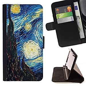 For Samsung Galaxy S6 Gogh Starry Night Art Painting Style PU Leather Case Wallet Flip Stand Flap Closure Cover