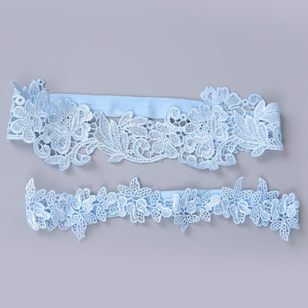 cintura regolabile reggicalze in pizzo elastica Set di 2 giarrettiere in pizzo da sposa accessori da sposa Ivory White con fiori e foglie