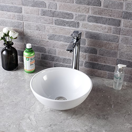 Sarlai 13 x13 Modern Round Bowl Above Counter White Porcelain Ceramic Bathroom Vessel Vanity Sink Art Basin