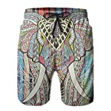 Kurabam Beach Yoga Pants, Bohemian Elephant Summer Casual Beach Pants Shorts for Men Boys, Outdoor Short Pants Beach Accessories