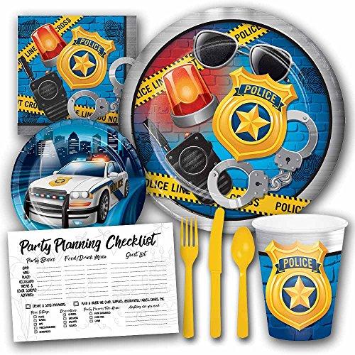 Police Theme Birthday Party Supplies Set for Boys - Serves 8 (Police Theme)