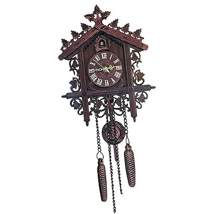 FLAMEER Reloj Pared Colgante con Movimiento Reloj de Cuco Madera Tiempo Puntal Oficina Adornos - 1