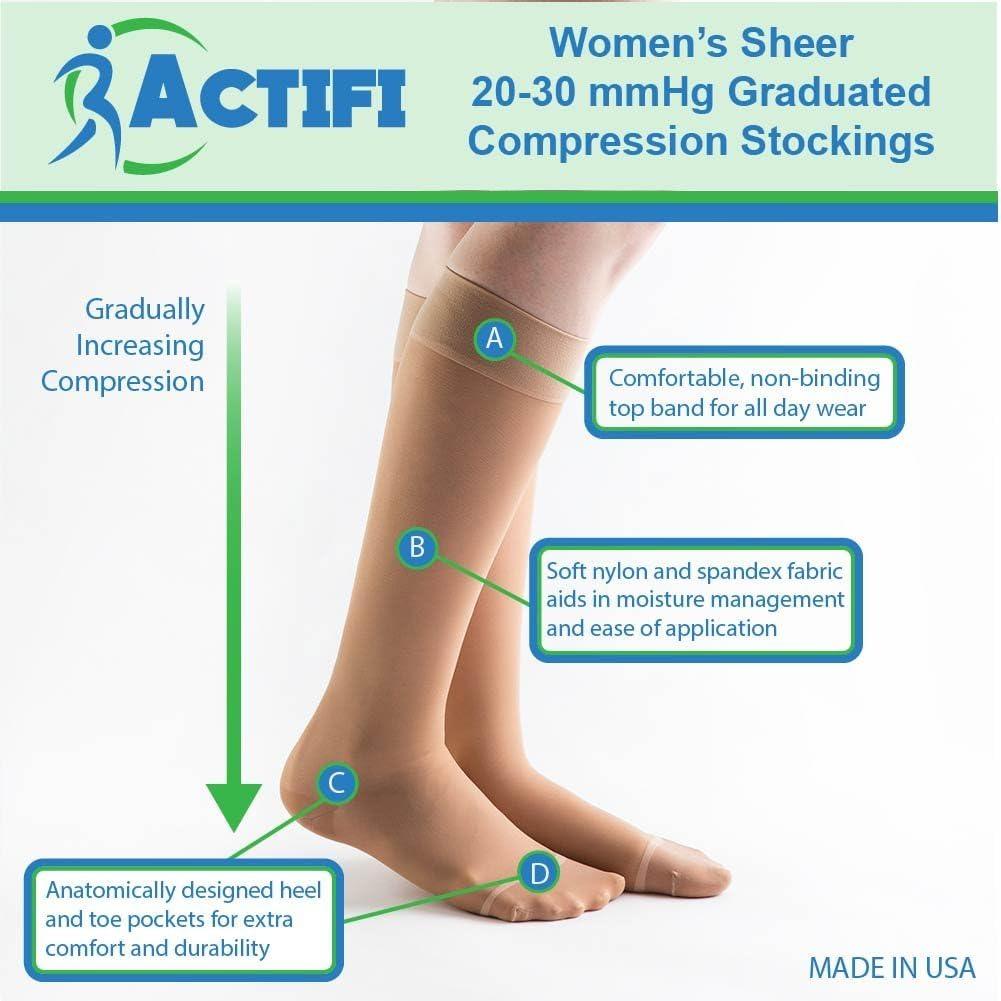 Actifi Women's Sheer 20-30 mmHg Compression Stockings - Closed Toe, Knee High