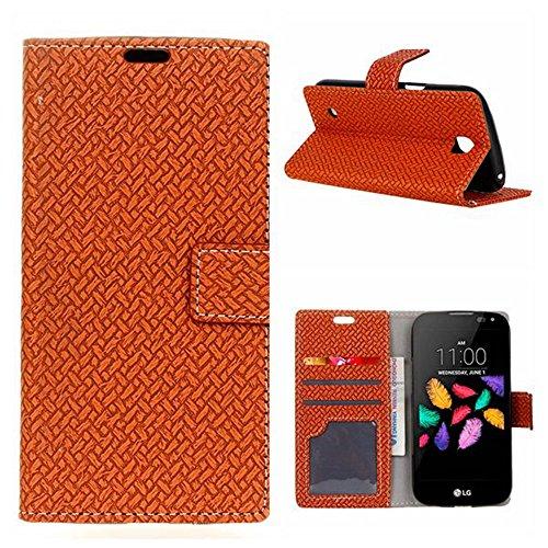 YHUISEN Weave patrón de cierre magnético de cuero de la PU Cartera Flip Folio caso con soporte / tarjeta de ranura cubierta protectora de la caja para LG K3 4G ( Color : Purple ) marrón