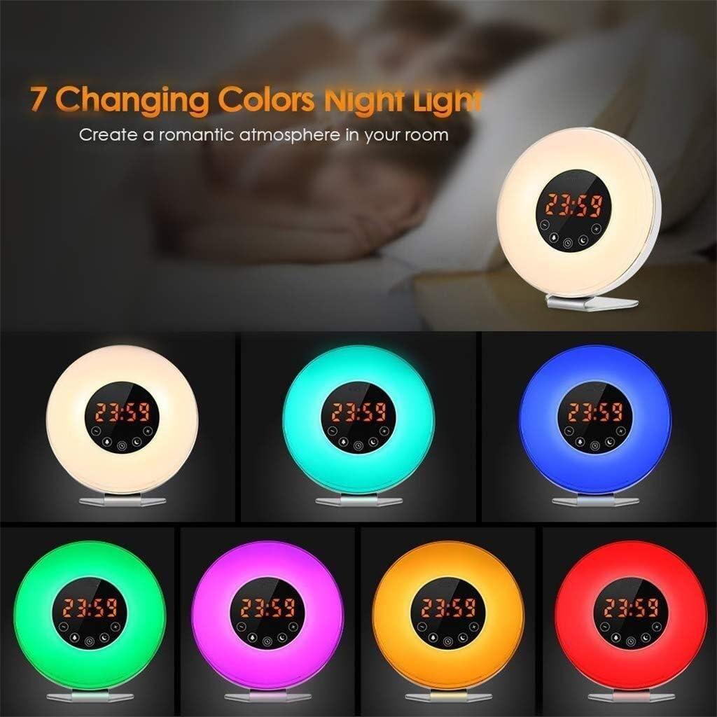ウェイクアップライト目覚まし時計は、FMラジオシミュレーション日の出と日没ベッドルームデコレーションライトにタッチ時計LEDライト