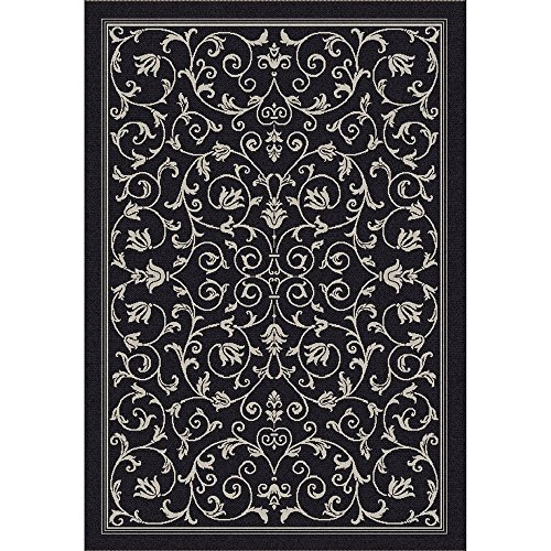 Safavieh Courtyard Collection CY2098-3908 Black and Sand Indoor/ Outdoor Area Rug (4' x 5'7