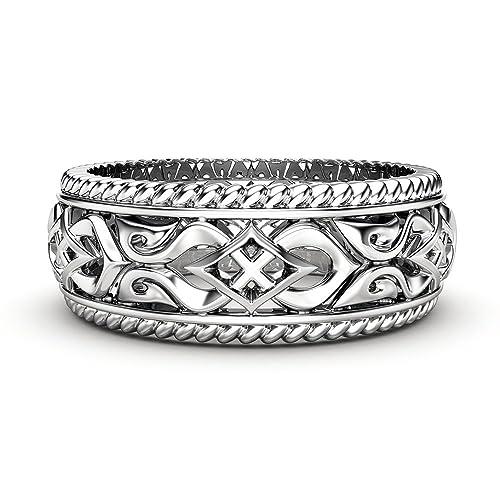 Amazon Com 14k White Gold Ring Mens Wedding Band Art Deco Wedding