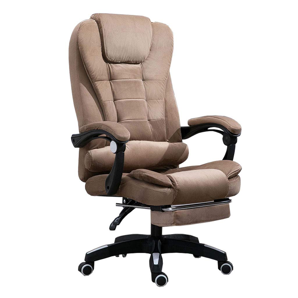 フットレストが付いている高背部装飾されたフランネルの生地のオフィスの椅子 コンフォートラグジュアリーエグゼクティブスイベルコンピュータチェア、 人間工学に基づいたリクライニングデザイン、 調節可能な高さ、 褐色   B07MMZFKKX