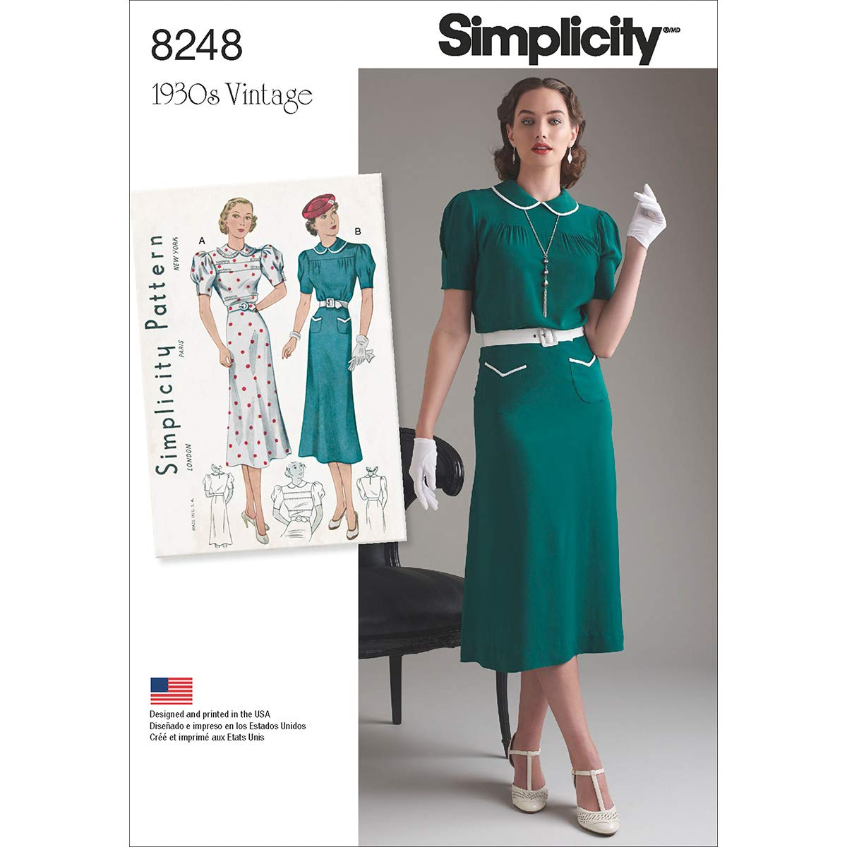 1930s Sewing Patterns- Dresses, Pants, Tops Simplicity Vintage Sewing Template 8248 1930s Vintage Dress Sewing Pattern 2 Styles Sizes 12-20 $9.65 AT vintagedancer.com