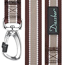 "Dazzber Strong Nylon Dog Leash with Safety Latch,4 Ft Long - Width 1.2"" - High Color Fastness - Durable - Dog Training Leads with Padded Handle"