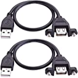 USB Extension Cable - iGreely 2Pack 1Ft/30cm USB 2.0 Panel-Mount Type A Male to Type A Female Cable
