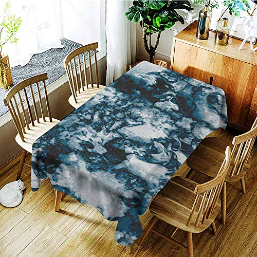 XXANS Spill-Proof Table Cover,Marble,Unusual Gemstone Onyx Rock Nature Pattern with Vintage Paintbrush Effects,Modern Minimalist,W60X90L Slate Blue Pearl