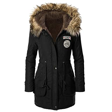 Paris Hill Women's Winter Warm Parka Faux Fur Jacket Long Hooded ...