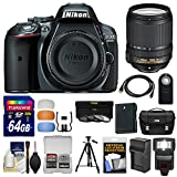 Nikon D5300 Digital SLR Camera Body (Grey) with 18-140mm VR Zoom Lens + 64GB Card + Case + Flash + Battery & Charger + Tripod Kit