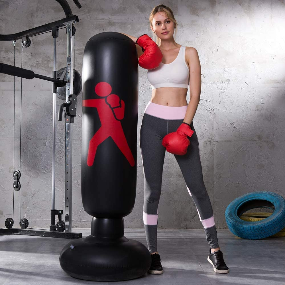 MENGDUO Inflatable Free Standing Punching Bag, Heavy Training Bag, Adults Teenage Fitness Sport Stress Relief Boxing Target