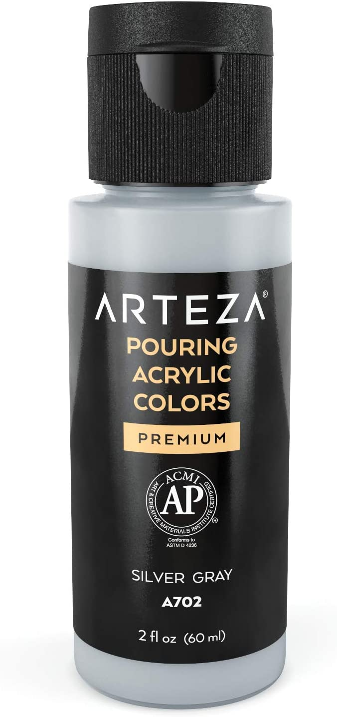 Arteza Acrylic Pouring Paint, 2oz (60 ml), A002 Silver Gray High Flow Acrylic Paint, No Mixing Needed, Paint for Pouring on Canvas, Glass, Paper, Wood, Tile, and Stones