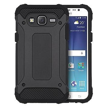 CLM-Tech Carcasa Híbrida para Samsung Galaxy J5 (2015) Cover Negro Funda 2-Partes Tapa TPU Silicona y Plástico Duro - No es Compatible con el Galaxy ...