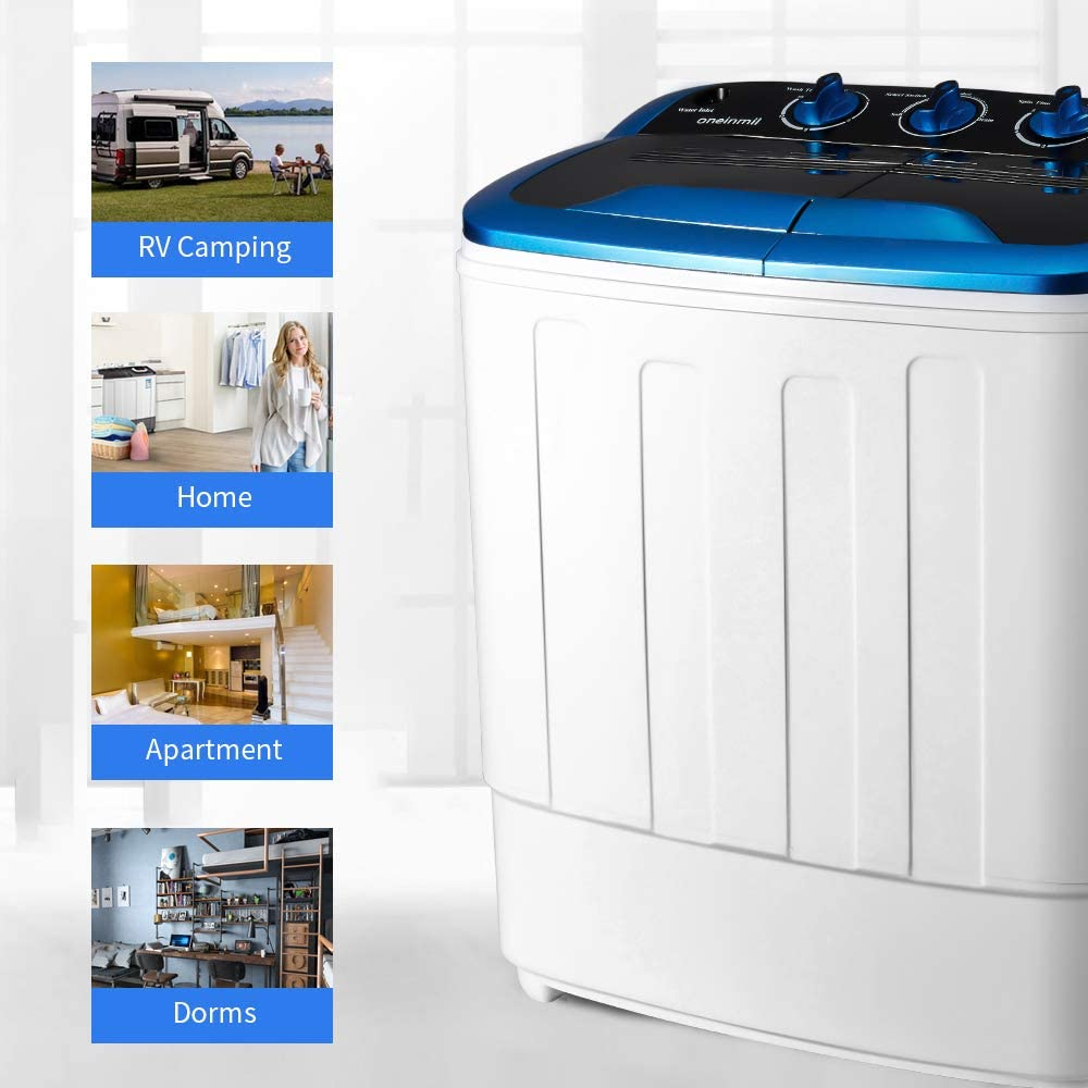 EROMMY Portable Mini Compact Twin Tub Washing Machine w//Wash and Spin Cycle Apartments RVs 17lbs 2IN1 Washer Spin Dryer Ideal for Dorms Black Camping etc