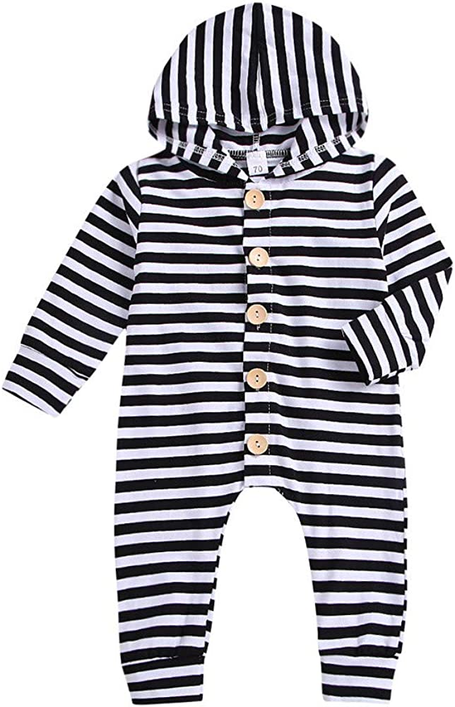 kaiCran Toddler Baby Stripe Romper Long Sleeve Button Up Boy Girl Hooded Jumpsuit Outfits