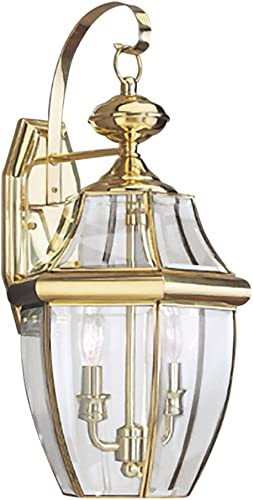 Sea Gull Lighting 8039-02 Lancaster Two-Light Outdoor Wall Lantern with Clear Curved Beveled Glass Panels, Polished Brass Finish