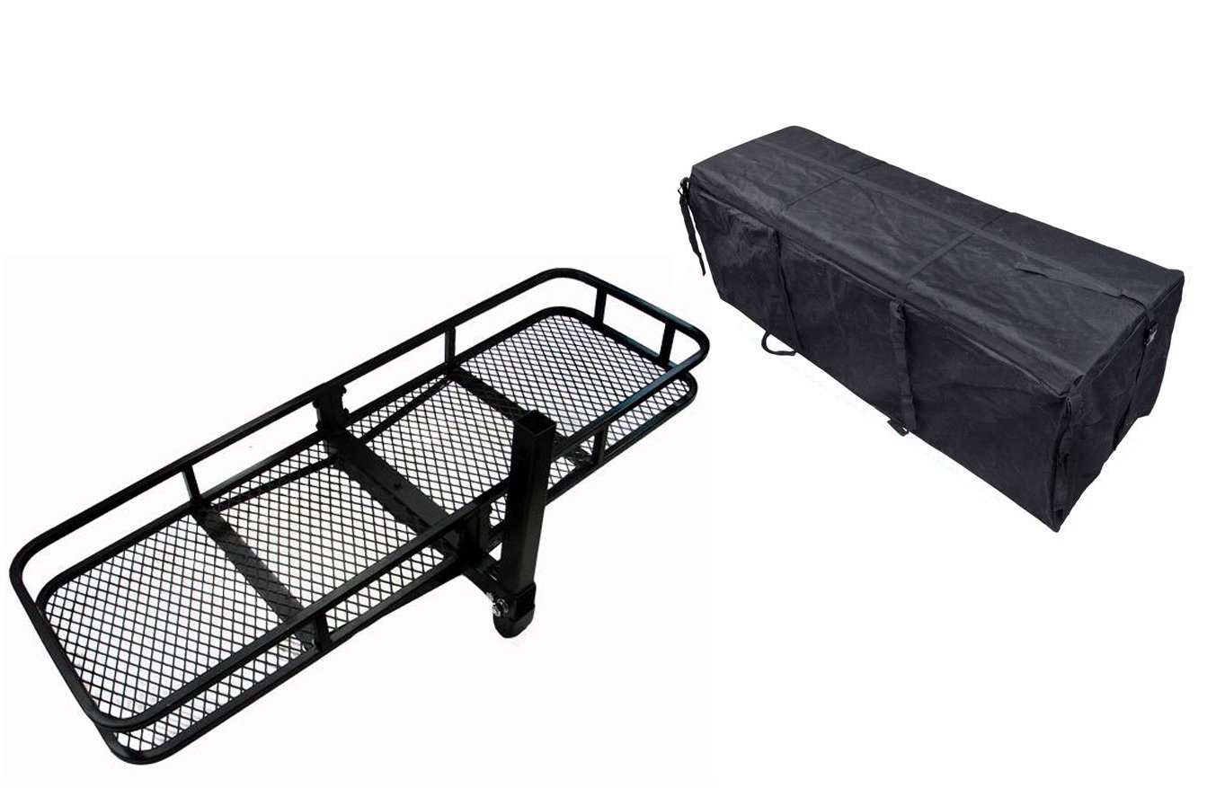 TMS 60inch x 20inch Hitch Mount Folding Cargo Carrier Basket w/ Weather-Resistant Luggage Bag by TMS (Image #1)