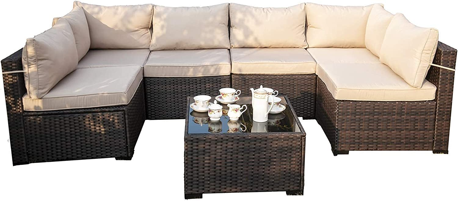 Grezone Outdoor Sectional Sofa Couch, Handwoven PE Wicker Patio Conversation Set, Brown PE Wicker Beige Cushions and Black Glass Table (7 Pieces Conversation Sets)