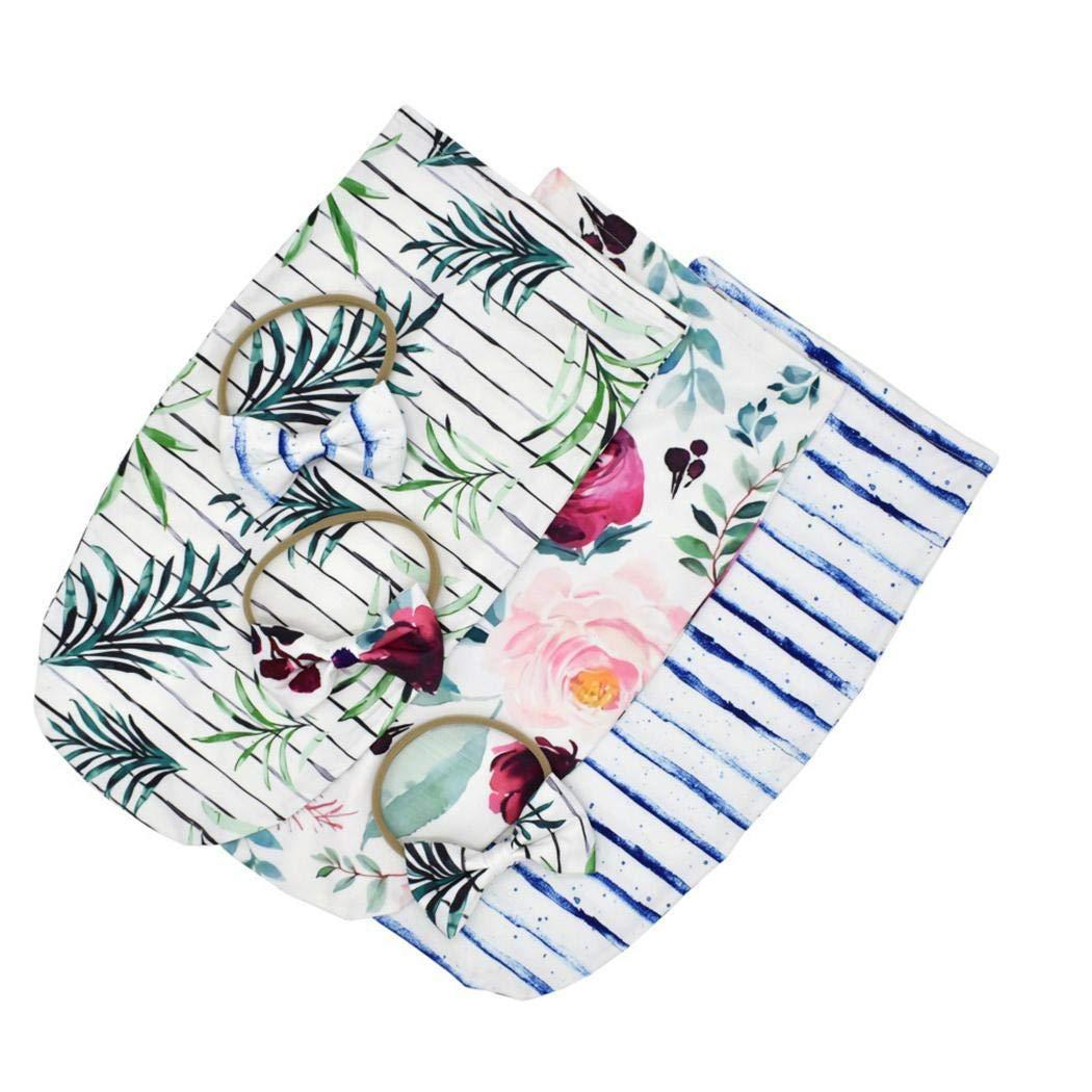 Wildtrest Girls Casual Cute Print Cotton Bow Shape Headband Swaddles Wrap Towel Set Sleepsacks