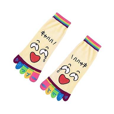 VJGOAL Moda casual para mujer Dibujos animados creativos Toe Calcetines Calcetines de cinco dedos Calcetines divertidos