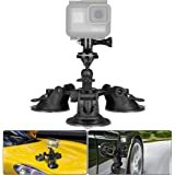 3-Cup Action Camera Suction Cup Mount Motion Camcorder Car Windshield Hood Door Trunk Lid Holder/w Ball Head Compatible with GoPro Sony DJI OSMO Action Akaso Apeman YI Sports DV Cam Vehicle Mounts